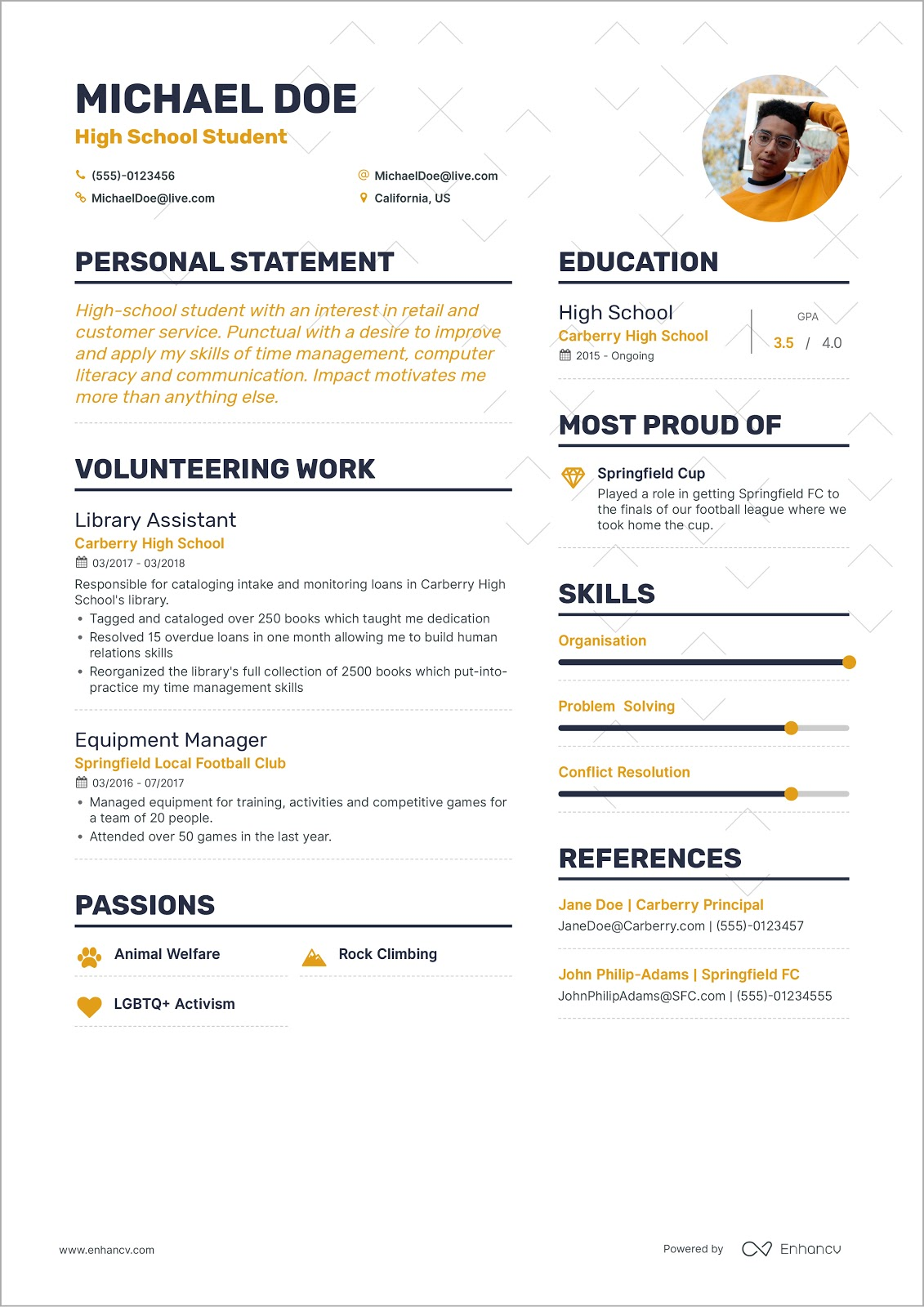 to write your first job resume for michaeldoeresume firstresume professional web designer Resume Write A Resume For A Job