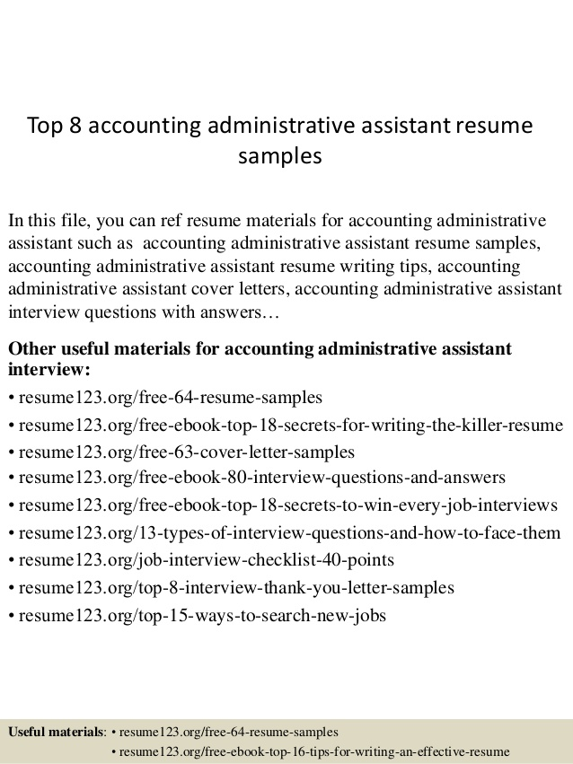 top accounting administrative assistant resume samples medical skills writing services Resume Accounting Administrative Assistant Resume