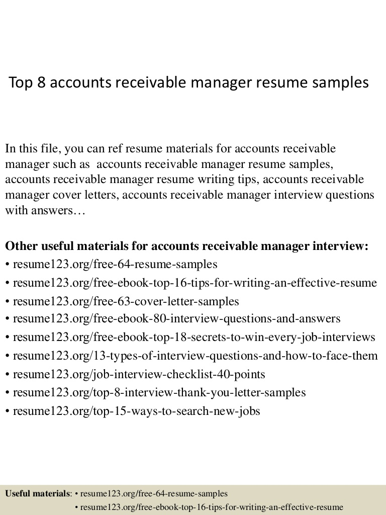 top accounts receivable manager resume samples top8accountsreceivablemanagerresumesamples Resume Accounts Receivable Manager Resume