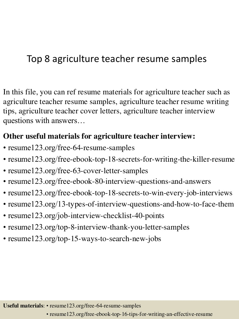 top agriculture teacher resume samples prospective top8agricultureteacherresumesamples Resume Prospective Teacher Resume
