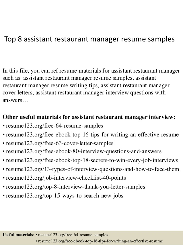 top assistant restaurant manager resume samples help oracle upload career summary basic Resume Resume Help Restaurant Manager