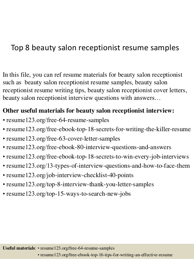 top beauty salon receptionist resume samples parlour format security guard example Resume Beauty Parlour Resume Format