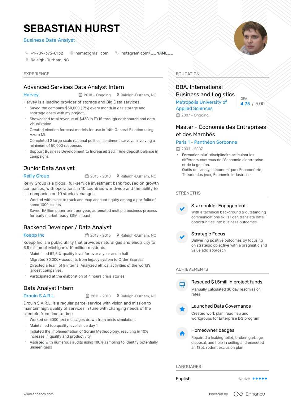 top business data analyst resume examples expert tips enhancv migration broadcast editor Resume Data Migration Business Analyst Resume
