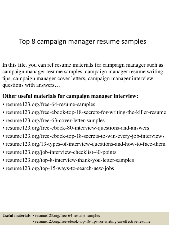 top campaign manager resume samples software engineer reddit guaynabo waitress duties and Resume Campaign Manager Resume