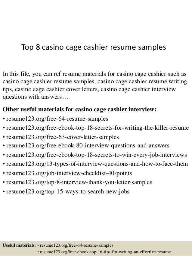 top casino cage cashier resume samples job examples example of hostess social science Resume Cashier Job Resume Examples