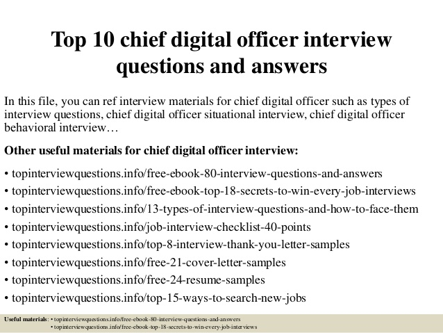 top chief digital officer interview questions and answers resume scientific examples phd Resume Chief Digital Officer Resume