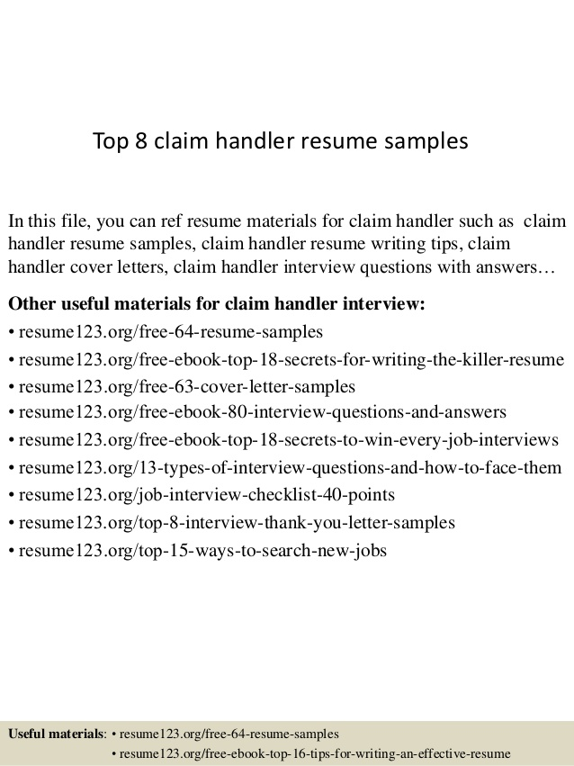 top claim handler resume samples material examples construction estimator unprofessional Resume Material Handler Resume Examples