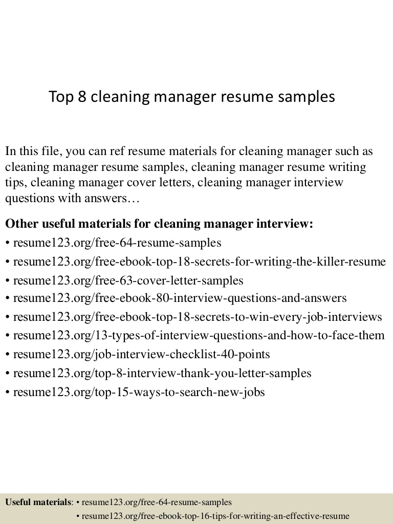 top cleaning manager resume samples service top8cleaningmanagerresumesamples lva1 app6891 Resume Cleaning Service Manager Resume