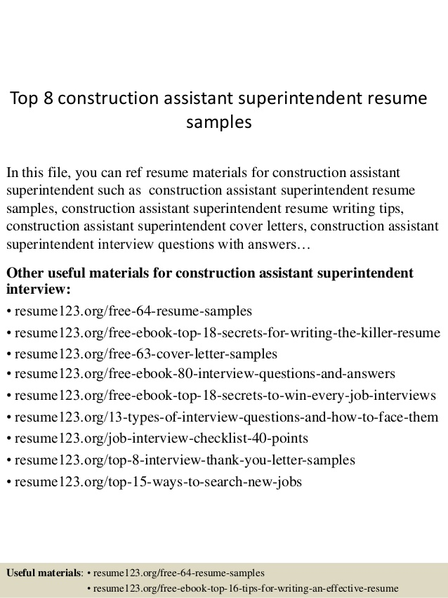 top construction assistant superintendent resume samples examples and biochemistry hrm Resume Construction Superintendent Resume Examples And Samples