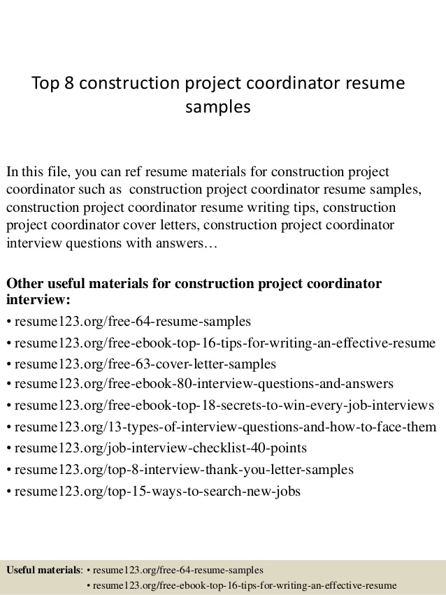 top construction project coordinator resume samples assistant free help for veterans good Resume Assistant Project Coordinator Resume