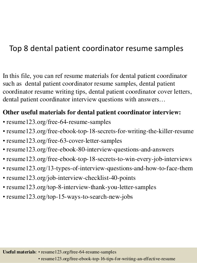 top dental patient coordinator resume samples orthopedic clerical summary for front end Resume Dental Patient Coordinator Resume