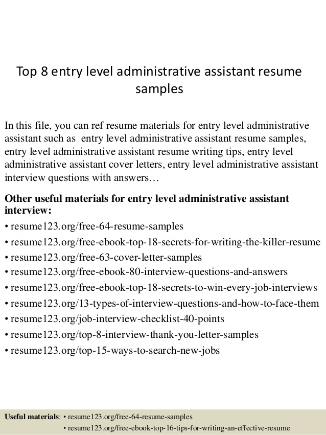 top entry level administrative assistant resume samples admin format summary examples for Resume Admin Assistant Resume Format