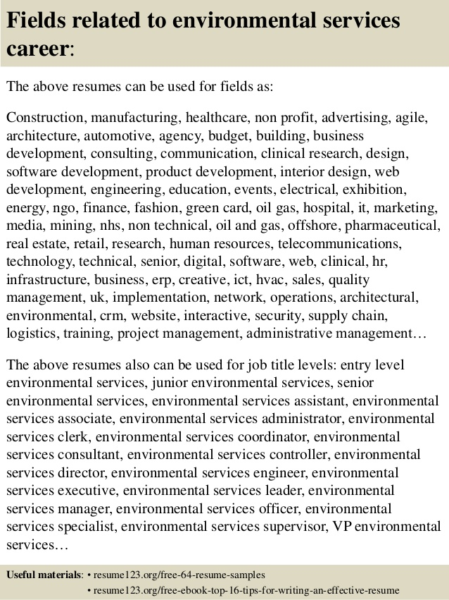 top environmental services resume samples supervisor for owning your own business Resume Environmental Services Supervisor Resume