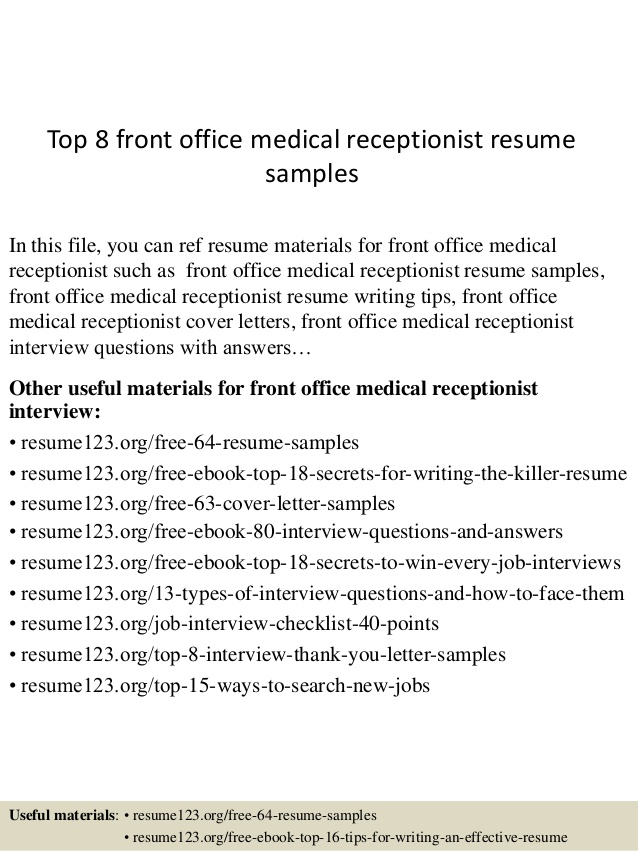 top front office medical receptionist resume samples kubernetes indeed software testing Resume Office Receptionist Resume
