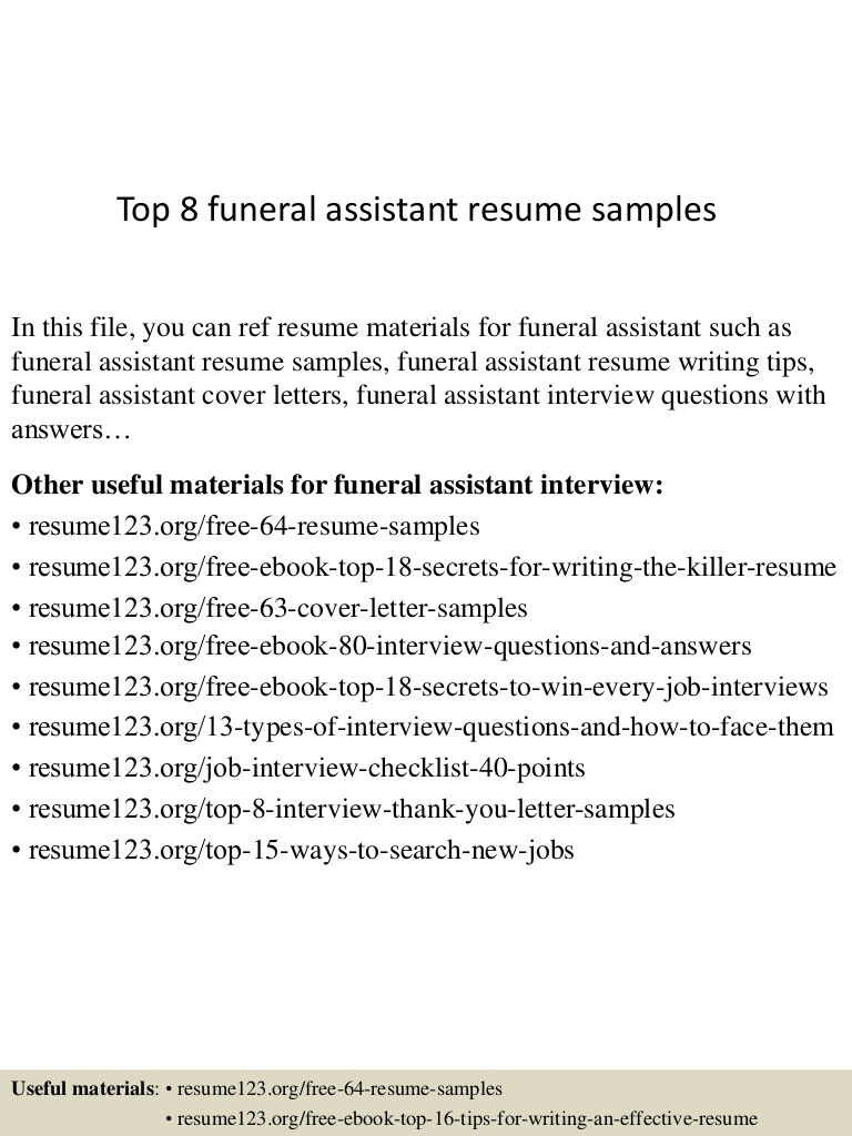 top funeral assistant resume samples home administrative Resume Funeral Home Administrative Assistant Resume