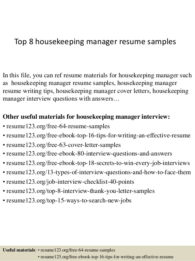 top housekeeping manager resume samples supply chain examples kitchen summary skill set Resume Housekeeping Manager Resume