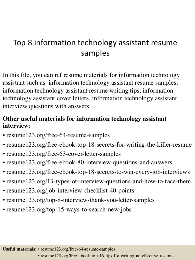 top information technology assistant resume samples cover letter services nyc objective Resume Information Technology Resume Cover Letter