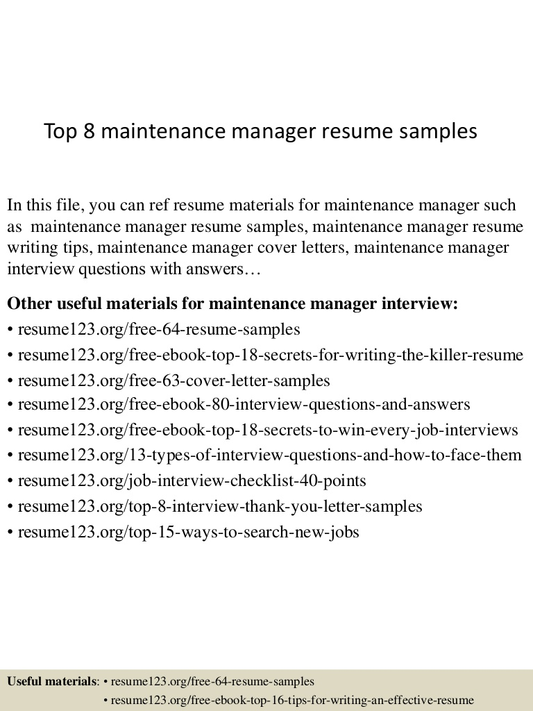 top maintenance manager resume samples top8maintenancemanagerresumesamples conversion Resume Maintenance Manager Resume