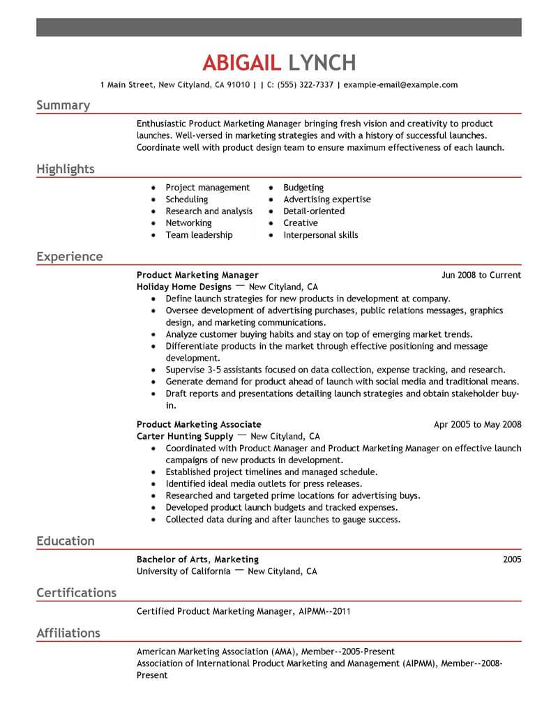 top mba resume samples examples for professionals livecareer admission product marketer Resume Resume For Mba Admission