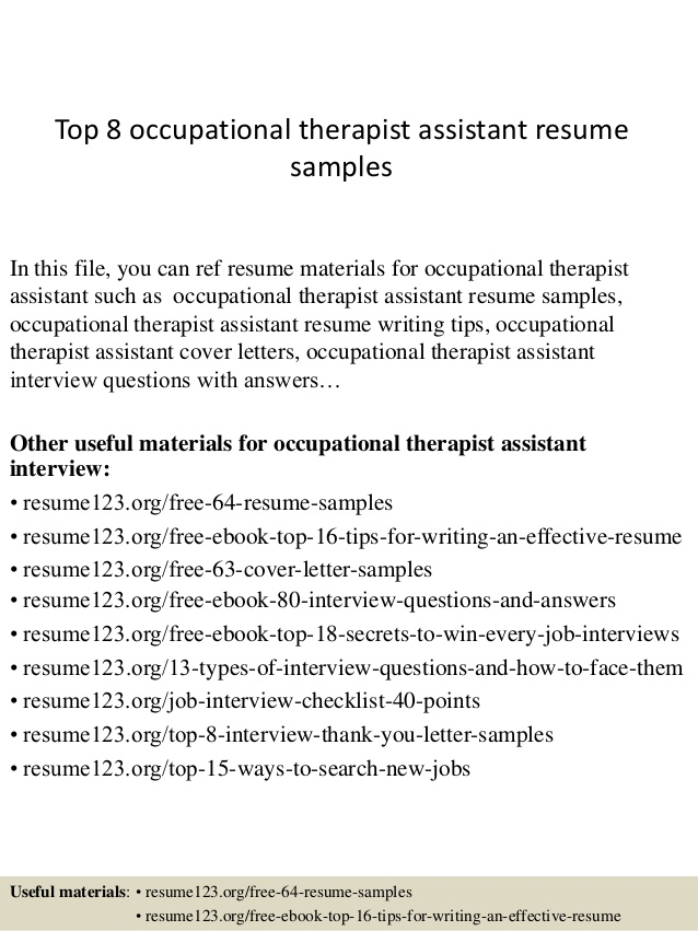 top occupational therapist assistant resume samples examples hazmat driver objective for Resume Resume Examples Occupational Therapist