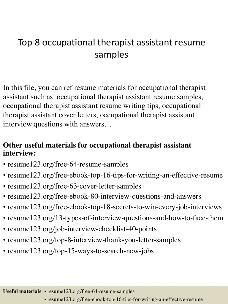 top occupational therapist assistant resume samples examples Resume Resume Examples Occupational Therapist
