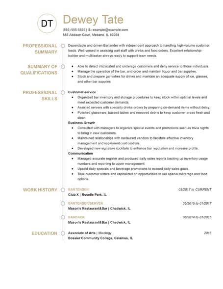 top resume templates for customize your own livecareer free standout functional bartender Resume Livecareer Free Resume Templates