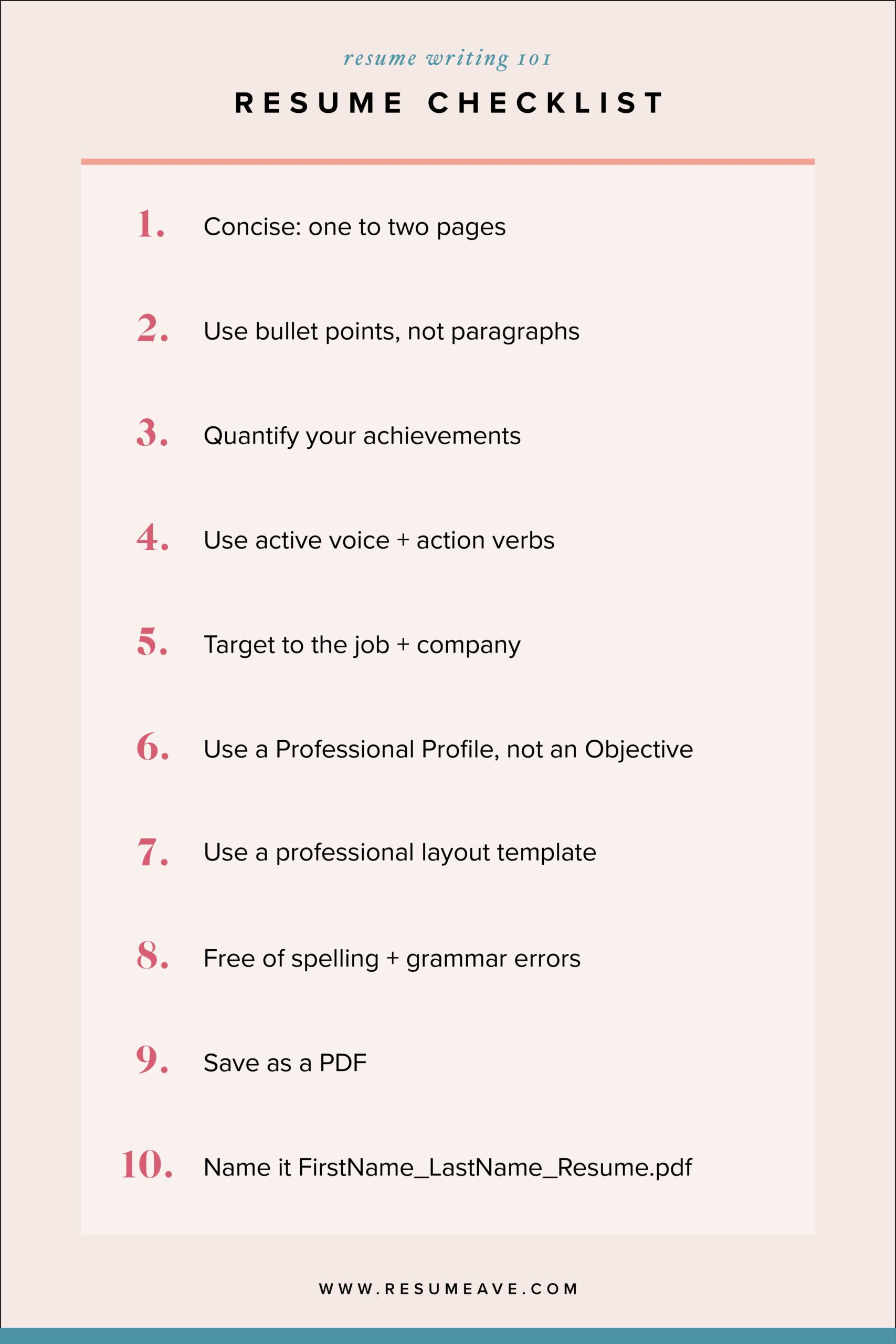 top resume writing tips checklist good personal qualities for strengths professional Resume Resume Writing Checklist