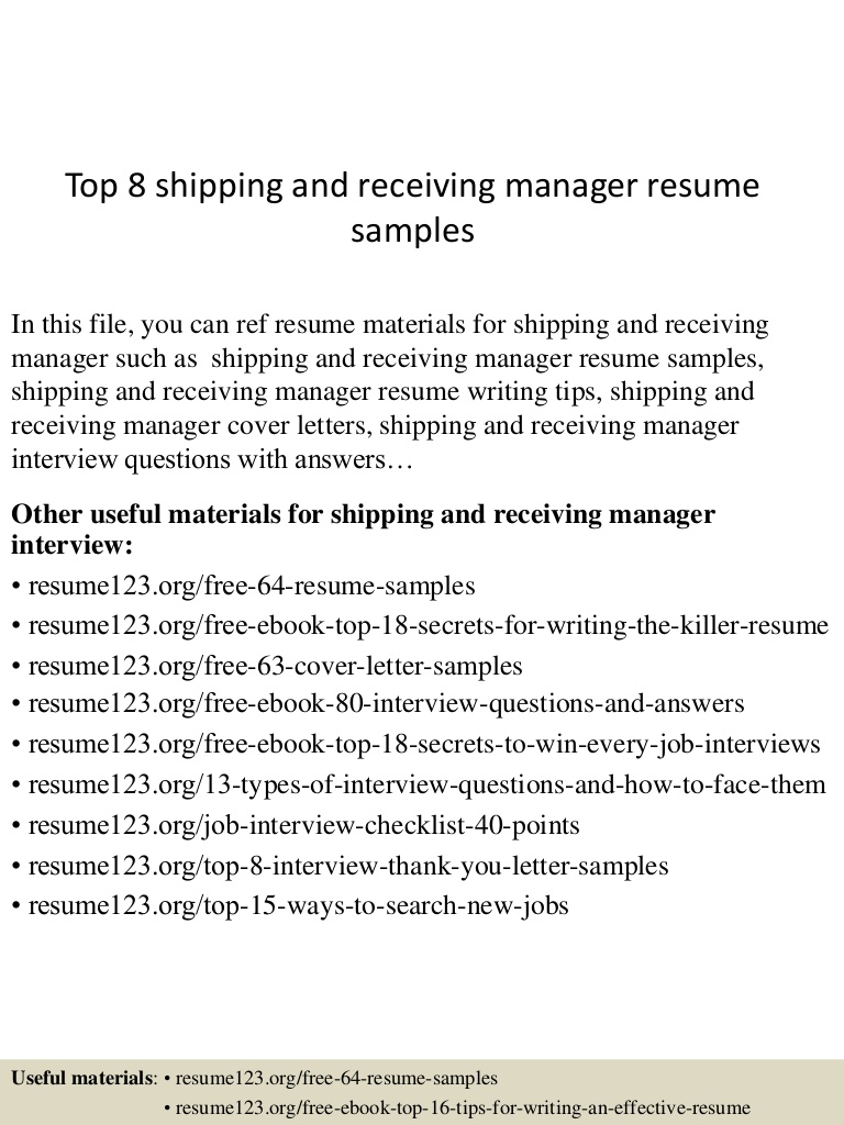 top shipping and receiving manager resume samples sample Resume Shipping And Receiving Manager Resume Sample