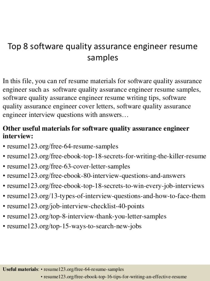 top software quality assurance engineer resume samples sample Resume Quality Assurance Resume Sample