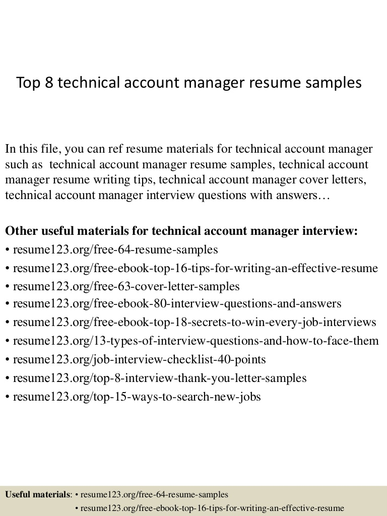 top technical account manager resume samples top8technicalaccountmanagerresumesamples Resume Technical Account Manager Resume