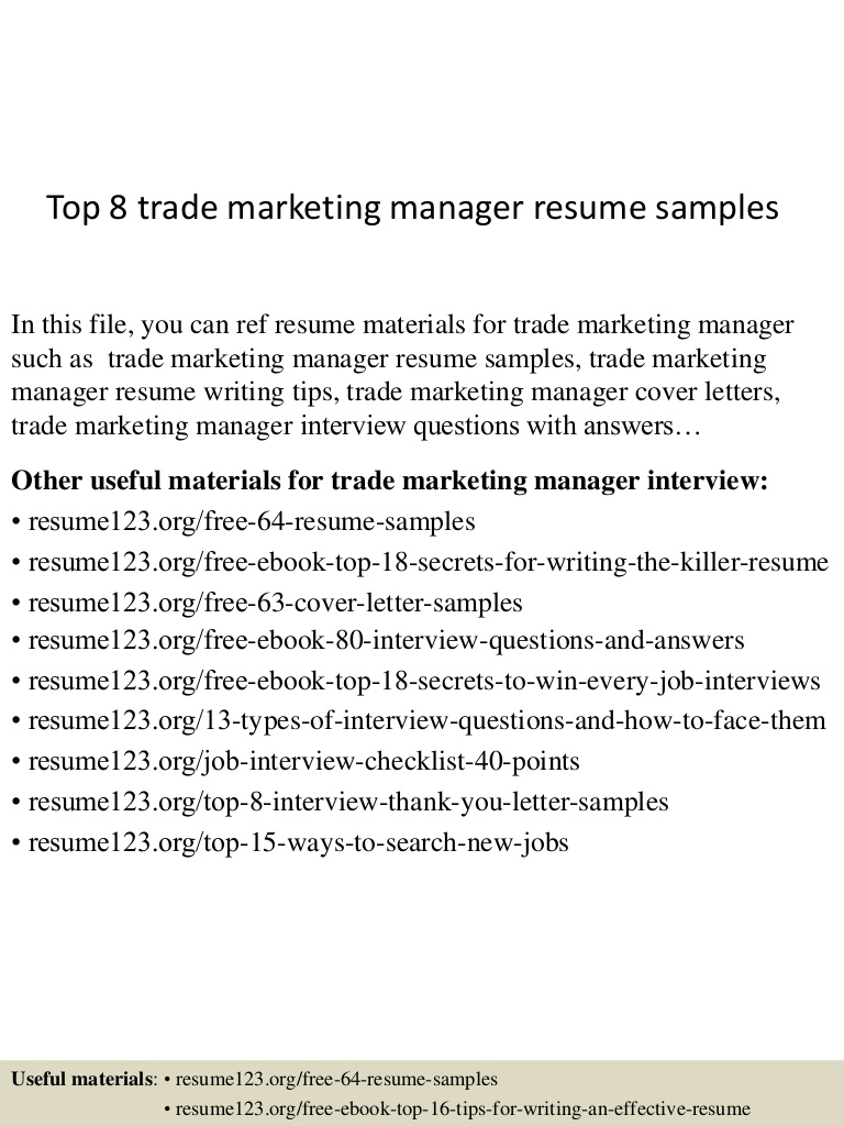 top trade marketing manager resume samples executive Resume Trade Marketing Executive Resume