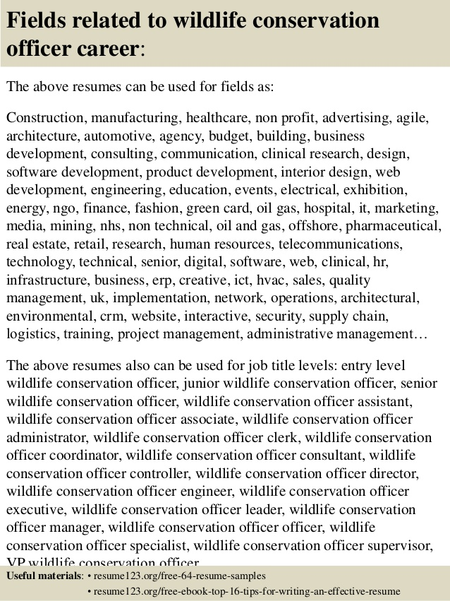 top wildlife conservation officer resume samples sports management examples counselor Resume Conservation Officer Resume