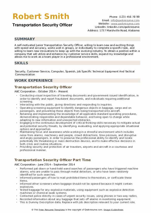 transportation security officer resume samples qwikresume airport objective pdf chemistry Resume Airport Security Resume Objective