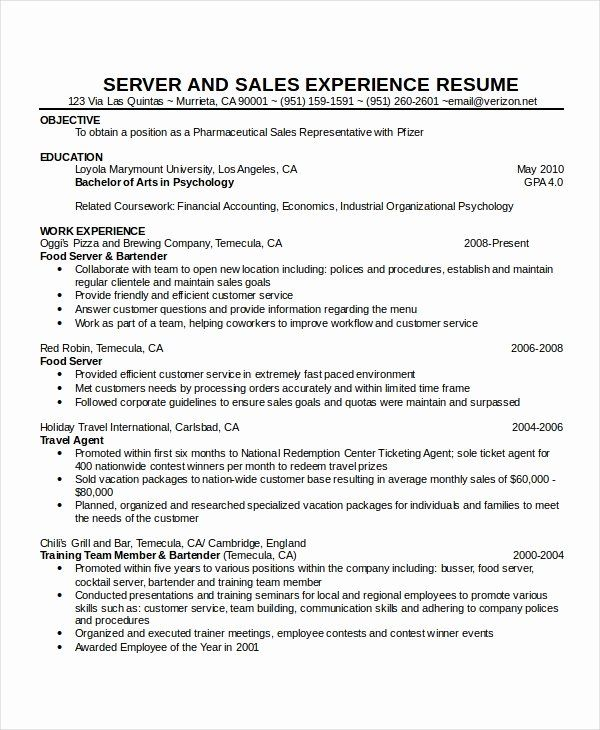 travel agent resume sample beautiful for waitress samples format server examples Resume Industrial Psychology Resume Objectives