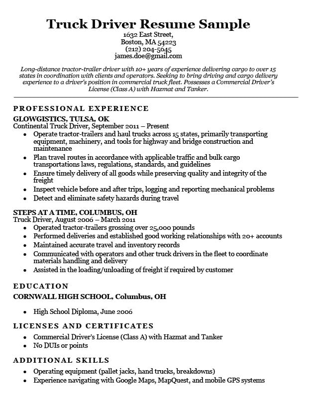 truck driver resume format haul sample with example of customer service objective for Resume Long Haul Truck Driver Resume Sample
