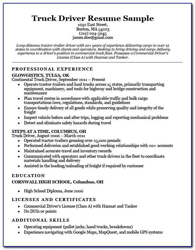 truck driver resume free sample vincegray2014 skills for delivery template ccna format Resume Skills For Delivery Driver Resume