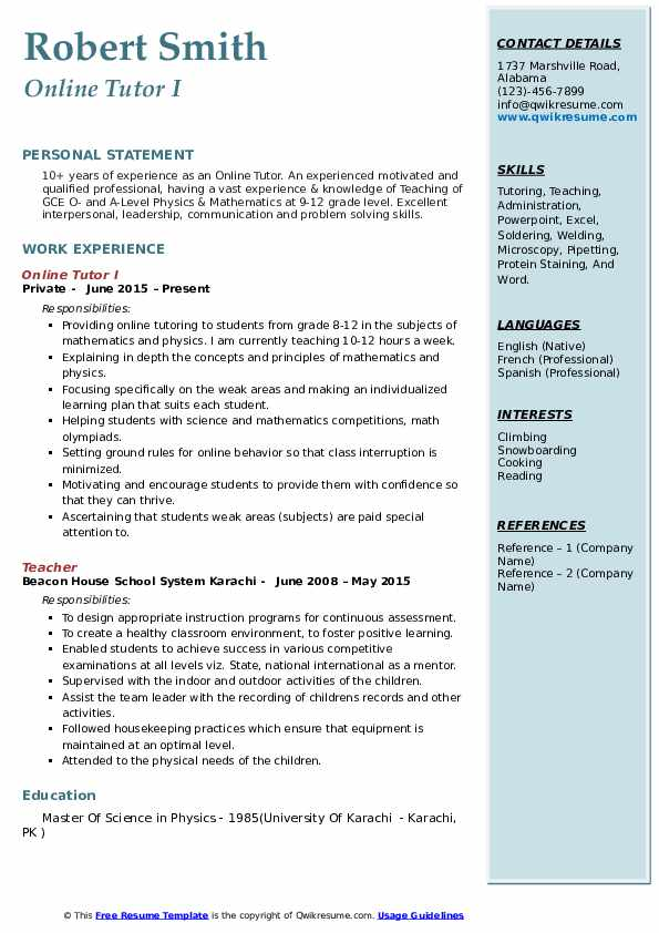 tutor resume samples qwikresume another word for on pdf fun templates phlebotomy example Resume Another Word For Tutor On Resume