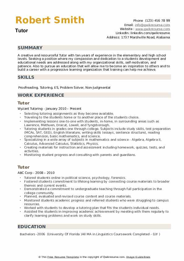 tutor resume samples qwikresume another word for on pdf thoughts sample linguist job Resume Another Word For Tutor On Resume