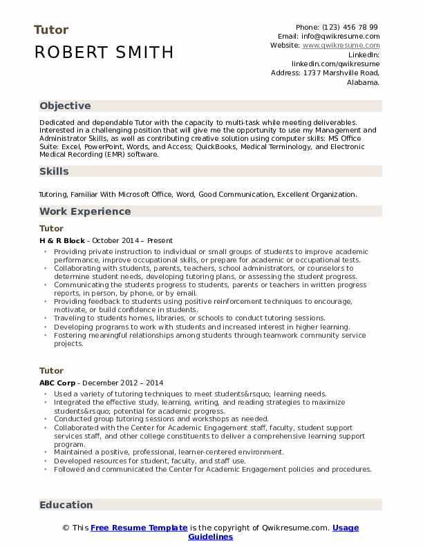 tutor resume samples qwikresume another word for on pdf with year work experience mini Resume Another Word For Tutor On Resume