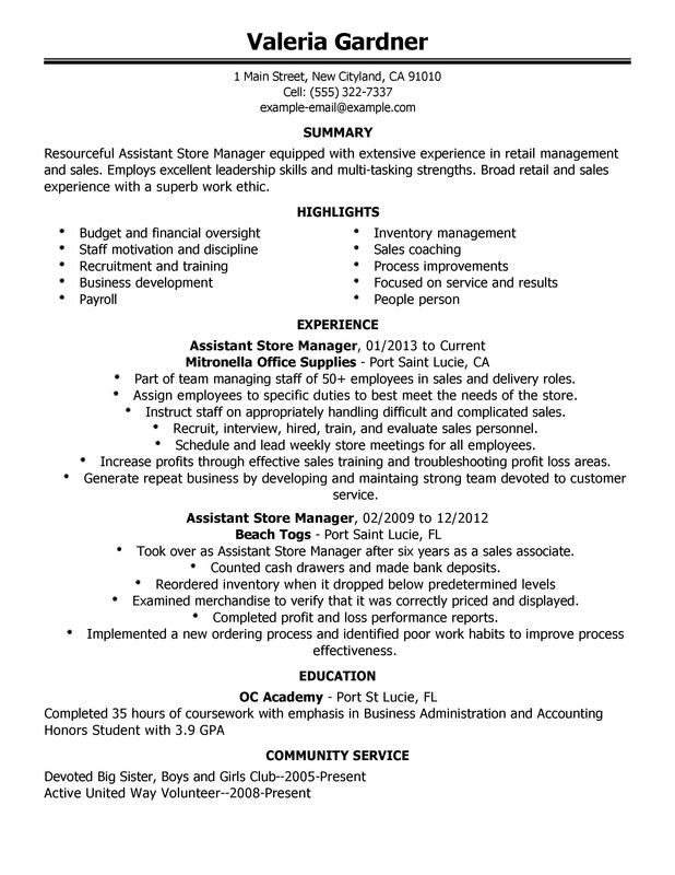 unforgettable assistant retail store manager resume examples to stand out myperfectresume Resume Resume Objective Retail Manager