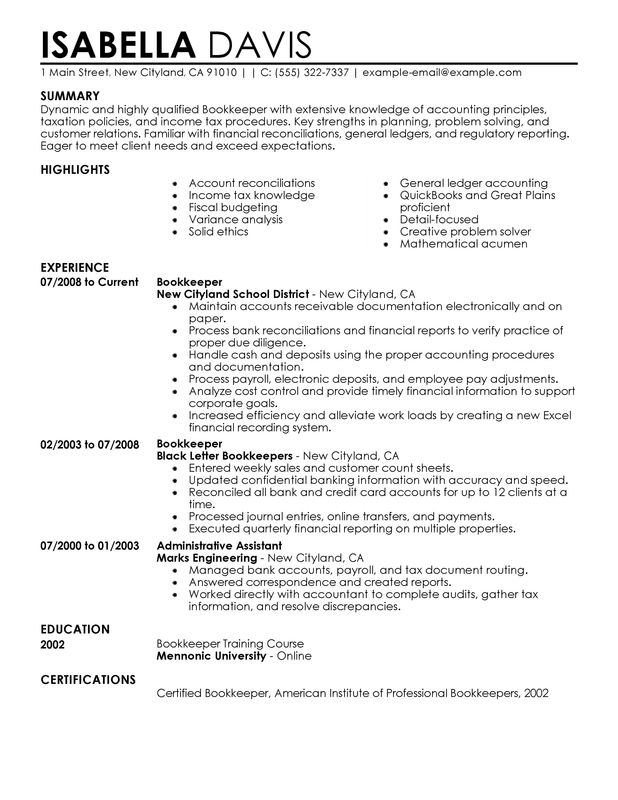 unforgettable bookkeeper resume examples to stand out myperfectresume samples accounting Resume Bookkeeper Resume Samples