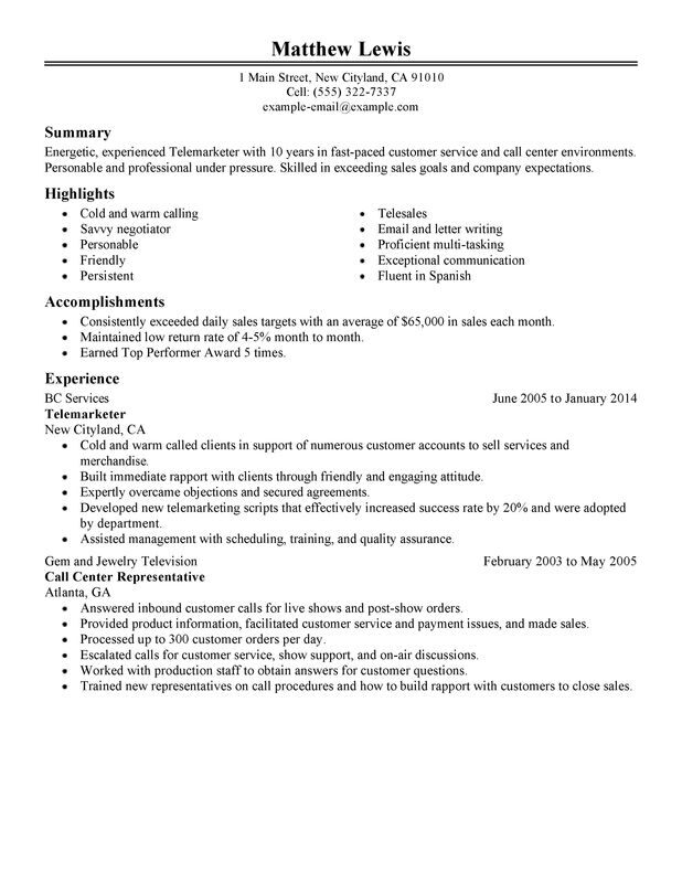 unforgettable experienced telemarketer resume examples to stand out myperfectresume Resume Professional Telemarketing Resume