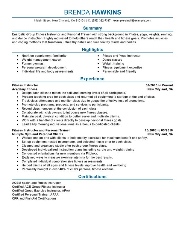 unforgettable fitness and personal trainer resume examples to stand out myperfectresume Resume Technical Training Instructor Resume