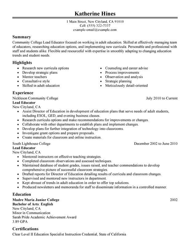 unforgettable lead educator resume examples to stand out myperfectresume continuing Resume Continuing Education On Resume