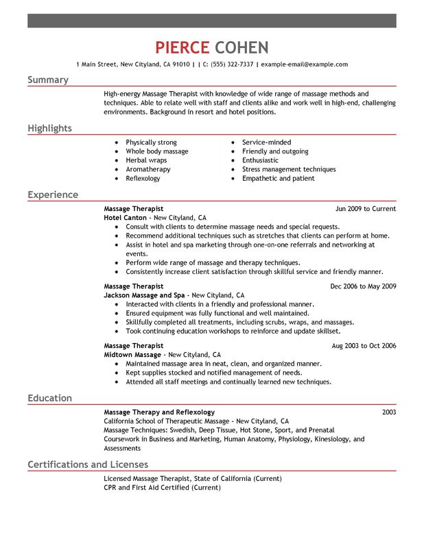 unforgettable massage therapist resume examples to stand out myperfectresume salon spa Resume Therapist Resume Examples