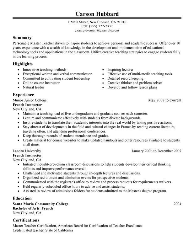 unforgettable master teacher resume examples to stand out myperfectresume for masters Resume Resume For Masters Degree Sample
