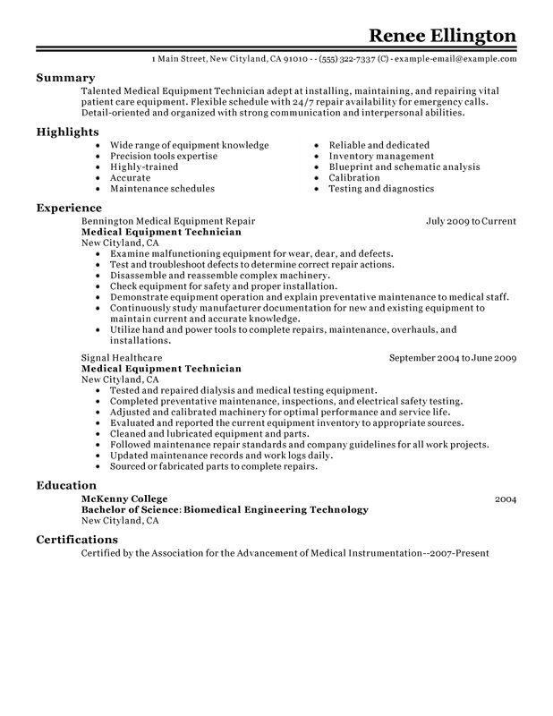 unforgettable medical equipment technician resume examples to stand out myperfectresume Resume Resume Availability Sample