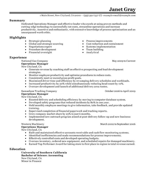unforgettable operations manager resume examples to stand out myperfectresume summary Resume Operations Manager Summary Resume
