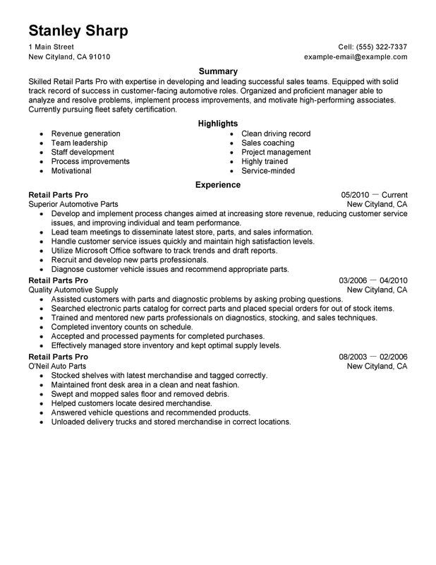 unforgettable retail parts pro resume examples to stand out myperfectresume department Resume Parts Department Resume