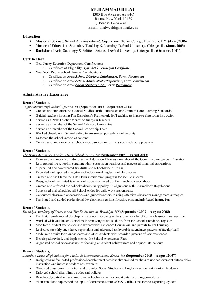 urban education experience resume resume2014 ny phpapp02 thumbnail furniture maker Resume Education Experience Resume